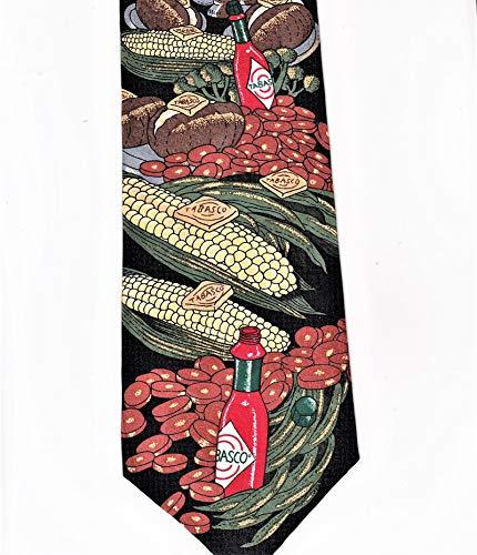Necktie Black Background (Tabasco Hot Pepper Sauce 100% Imported Silk Tie Necktie)