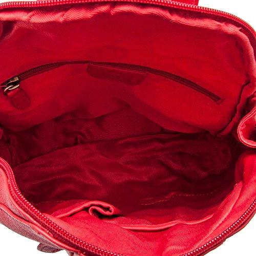 Zerimar Zaino in pelle stile casual con tasche multiple Colore marrone Dimensioni: 30x25,5x4 cm