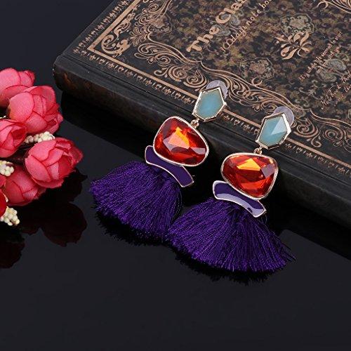Ohrring,Dairyshop Art und Weiseseil Edelstein lange Troddel Tropfen Ohrring Aussage ethnische Franse Partei Schmucksachen (lila)