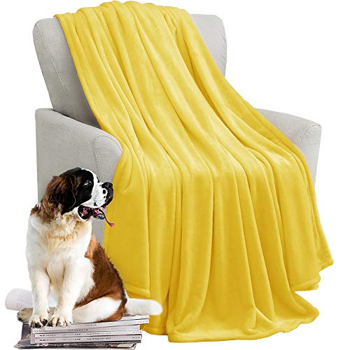 kawahome Yellow King Flannel Fleece Luxury Blanket Super Soft Plush Microfiber Solid Cozy Fuzzy Blanket for Bed Lightweight Couch/Sofa Blanket (108 x 90 Inch)