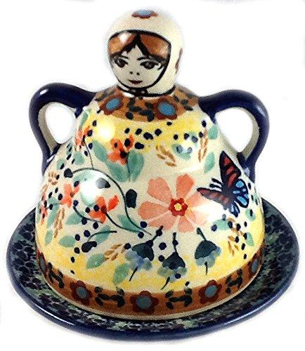 Polish Pottery Mini Cheese (Polish Pottery Lemon Lady or Mini Cheese Lady in Signature Pattern WK73 Viktoria)
