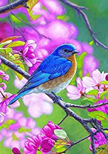 """""""Blue Bird Branch"""" - Spring / Summer - STANDARD Size, 28 Inch X 40 Inch, Decorative Double Sided Flag - Exclusively Made in the USA - Copyrights and Licensed by Custom Decor Inc."""