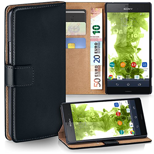 Xperia Z3 Compact Wallet Case, OneFlow [Credit Card Holder Slots and Kickstand] PU Wallet Case for Sony Xperia Z3 Compact Faux Leather Flip Folio Cover - DEEP-BLACK
