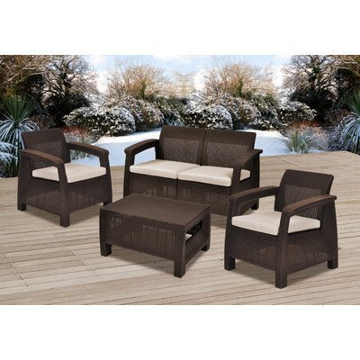 Amazon.com: Lujoso Colona Backyard 4 pieza Home Deep Muebles ...