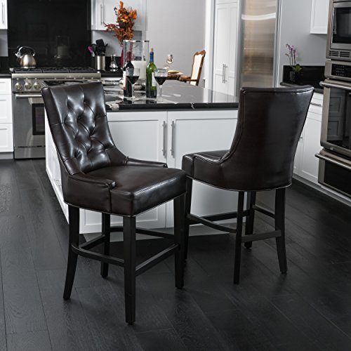 Gryphon Brown Bonded Leather Counter Stools (Set of (Bonded Leather Stool)