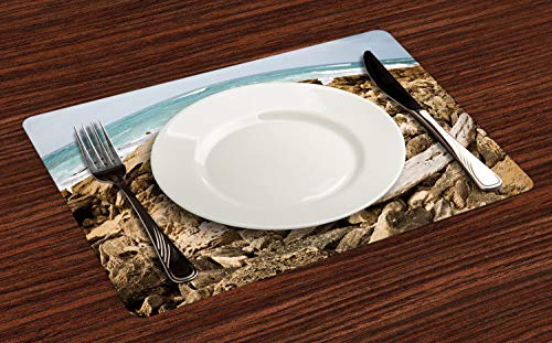Lunarable Driftwood Place Mats Set of 4, South Africa Tranquil Seaside View on Beach Rocks, Washable Fabric Placemats for Dining Table, Standard Size, Tan Sand Brown (Patio South Africa Set)