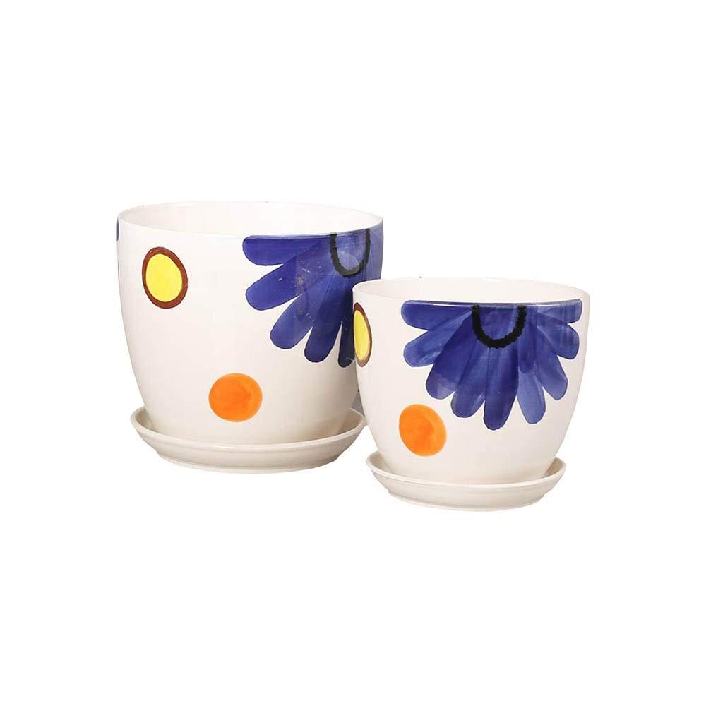 grande sconto QFFL vasi vasi vasi di Fiori Vaso da Fiori in Ceramica, Vaso da Fiori Bianco Succulente Vaso da Fiori Vaso da Fiori di Cactus con Vassoio in Confezione Fi Fiori. Confezione da 2 Vasi da Giardino  vieni a scegliere il tuo stile sportivo