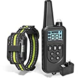 FXQIN Dog Training Collar,Rechargeable Dog Collar with Beep Vibration and Shock,100% Waterproof Training Collar LED Light,0~99 Shock Levels Dog Training Set