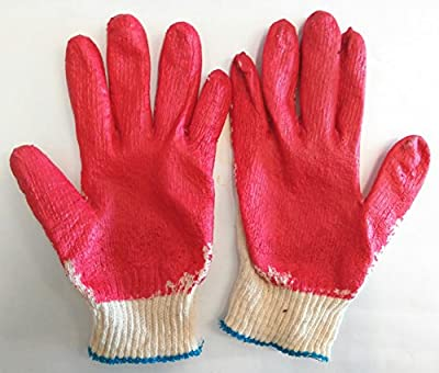 100 Pairs Red Latex Rubber Palm Coated Work Safety Gloves made in Korea