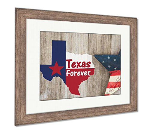 Forever Framed Panel Print - Ashley Framed Prints A Rustic Old Texas Forever Message, Wall Art Home Decoration, Color, 34x40 (frame size), Rustic Barn Wood Frame, AG6301027