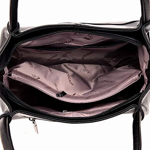 D'âge Femme Main Ovesuxle color En À Bandoulière Gray Capacité Cuir Black Moyen Souple Sac Grande qFw0ttR1