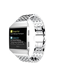 MoreToys Stainless Steel Sports Replacement Accessories Watch Bands Wristband Strap for Fitbit Ionic Smartwatch (Silver)