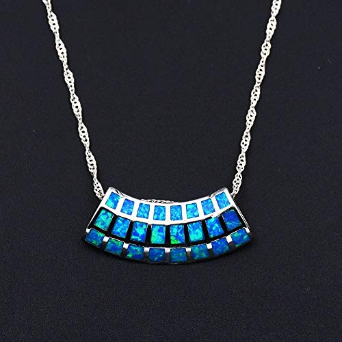 2019 New Square Shape Blue/White Fire Opal Pendant Necklace with Chain for ()