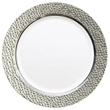 Table To Go 'I Can't Believe It's Plastic' 200-Piece Plastic Dinner Plate Set | Hammered Collection | Heavy Duty Premium Plastic Plates for Wedding, Parties, Camping & More (Silver White)