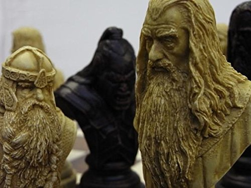 large heavy Lord of the rings chess set- full size complete set of game pieces based on the movie characters vintage and collectors book by J. R. R. (Rings Chess Set)