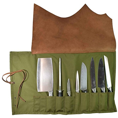 Pocket Cordura Knife Roll - Hide & Drink Water Resistant Canvas All Purpose Knife Roll (10 pockets) Handmade