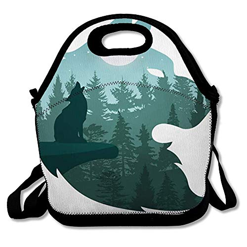 Reusable Lunch Bag for Men Women Panoramic Green Cloud Nature Wolf Howling Moon Night Coyote Dark Dog Dusk Duskiness Design Panorama Insulated Lunch Tote for Travel Office School (One Little Coyote Howling At The Moon)