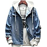 メンズ パーカー デニム ジャケット フード 付き アウター ヒップホップ ストリート コート 原宿風 春秋 大きいサイズ カジュアル
