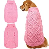 Mihachi Dog Sweater - Winter Coat Apparel Classic Cable Knit Clothes Cold Winter,Pink,L