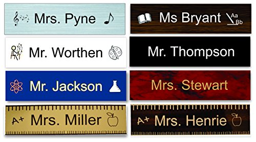 Teacher Name Plate- choose style and color - Customize / Personalize (Language Arts Teacher, Marbled Blue)