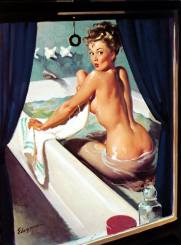 Bathtub Girl Pin-Up Girl Gil Elvgren Print Art - Unmatted, Unframed