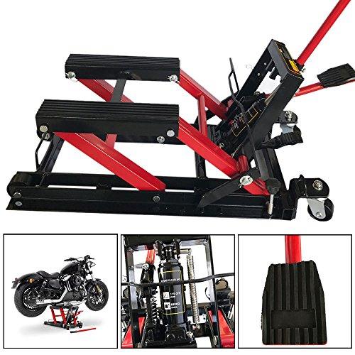 1500LB Motorcycle Bike Lift ATV Hoist Jack Stand Foot-Operated Quad Dirt Street Bike Hoist Lift Stand Floor Jacks (Stand Atv Jack)