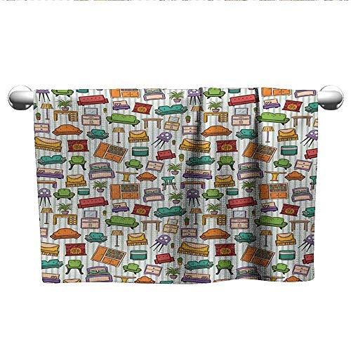 xixiBO Towel W20 x L20 Doodle,Various Home Interior Elements Armchair Table Mirror Design Elements Doodle Style,Multicolor Children's Towel