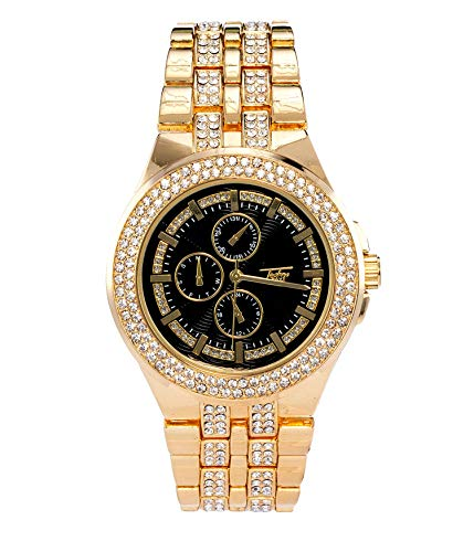 Luxury Men's Gold Simulated Chronograph Dial Watch with Black Dial | Japanese-Quartz Movement | Simulated Lab Diamonds