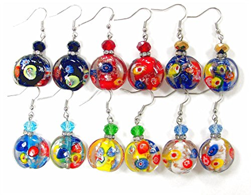 Linpeng / Woman's Earrings/Lampwork Glass Beads Drop Earrings/Murano Assorted Colors/Round Beads 20mm / Faceted Crystal 8mm/ Length Around 1.5