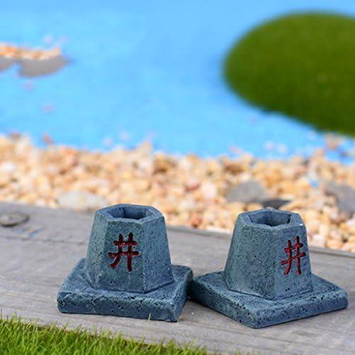 F Fityle 樹脂ミニチュア古い井戸ドールハウス盆栽妖精の庭の風景ポットの装飾