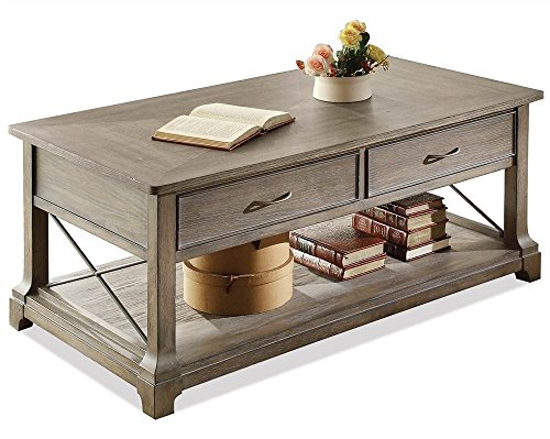 (Riverside Furniture 597154 Tropical Rectangular Cocktail Table with Shelf Brown)