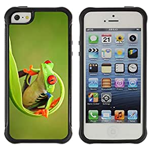 Híbridos estuche rígido plástico de protección con soporte para el Apple iPhone 5 / 5S - green happy nature animal jungle