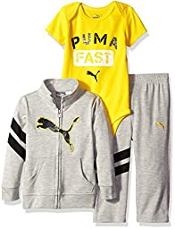 PUMA Baby Boys\' 3 Piece Zip up Jacket, Bodysuit, and Pant Set, Light Grey Heather/Yellow, 0/3 Months