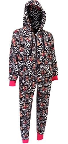 Betty Boop Black And White Zebra Plush One Piece Hoodie Pajama for women ()