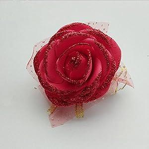 Blue Flower - Blue Purple Pink Rose Artificial Flower Bride Bridesmaid Wrist Wedding Dress Decoration - Artificial Flowers Dried Artificial Dried Flowers Flower Rose Bridesmaid Hand Blue Silk 109