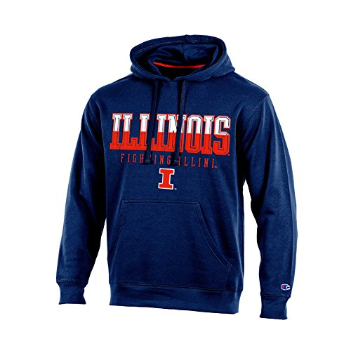 Champion NCAA Illinois Illini Adult Men Pullover Hooded Fleece, Medium, Navy (Illinois Fleece Illini)