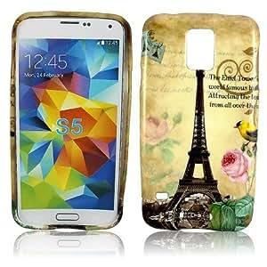 Samsung Galaxy S5I9600silicona la Tour Paris Protección de Móvil Case Carcasa Bumper Case Flip Funda Cover thematys®
