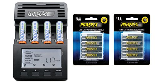 - Powerex MH-C9000 WizardOne Charger-AnalyPowerex MH-C9000 WizardOne Charger-Analyzer for 4 AA/AAA NiMH/NiCD Batteries Bundle with 2x 4-Pack AA Batteries