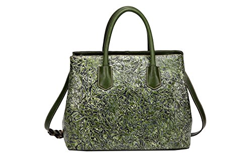 Jair Dark Green Retro Floral Embossed Genuine Leather Crossbody Tote Bags Handbags for Women by Jair
