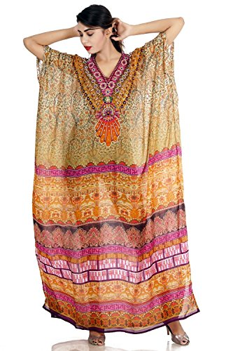 Beach wear 100% Silk Womens Stylish Butterfly Printed Full Length Caftan