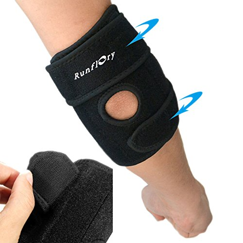 Runflory Adjustable Elbow Brace Support, Breathable Sports Tennis Golfers Support Protector Guard Pads for Tendonitis, Outdoor Activities, Elbow Injury - Red Inner Tendonitis Elbow Brace