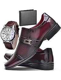 Sapato Social Verniz Com Relógio e Carteira Masculino ZARU 814DB