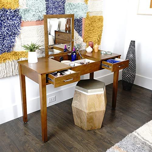 - Alveare Home 8008-878 Aimee Vanity Desk Makeup Dressing Table, Walnut