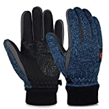Vbiger Winter Touch Screen Knit Gloves Winter Warm Gloves Warm Mittens Sports Gloves for Men and Women (M, Dark Blue)