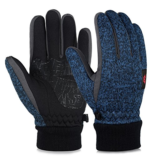 Vbiger Winter Warm Gloves Knit Touch Screen Gloves Driving Sports Gloves Mittens for Men Women
