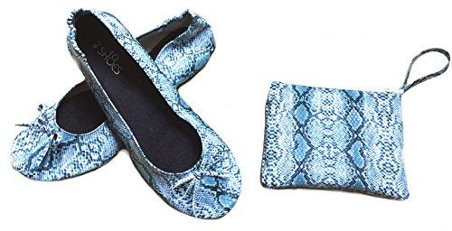Zapatos8teen Zapatos 18 Mujeres Zapatos De Ballet Portátiles De Viaje Plegables W / Matching Carrying Case Snake Blue