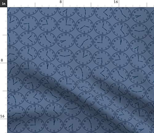 Spoonflower Blue Clocks Fabric - Time Never Lingers On Timepiece Face Watches Watch Print on Fabric by The Yard - Denim for Sewing Bottomweight Apparel Home Decor Upholstery