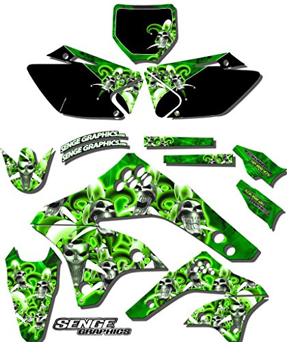(Senge Graphics kit compatible with Kawasaki 2010-2019 KLX110, Jester Green Graphics Kit)