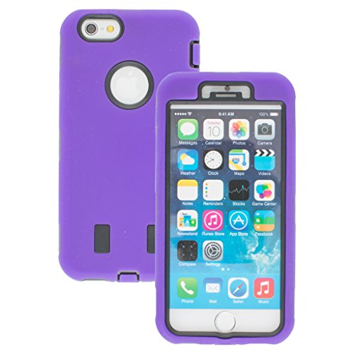Good Style Apple iphone 6 Case cover Durable Shockproof Armor Case 3in1 Combo Rigid PC + Soft Silicone Protective Case (Purple)