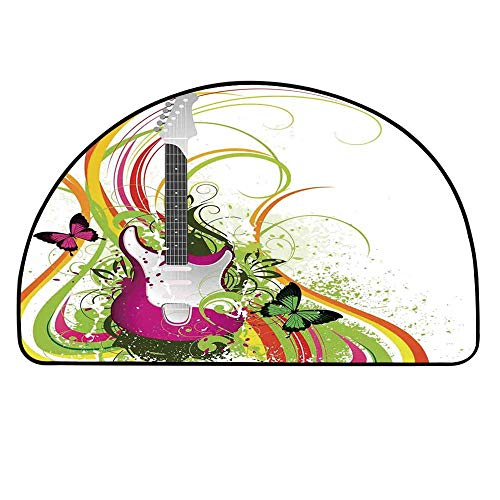 YOLIYANA Music Decor Entry Mat Rugs,Musical Composition with a Guitar Colorful Ornament Flourishes Plant Curl for Front Door,27.5
